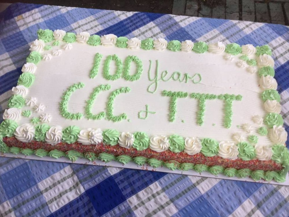 The cake that Coker descendants shared at Kabra. The initials CCC and TT are for Charles Cyril Coker and The Tamarind Tree.