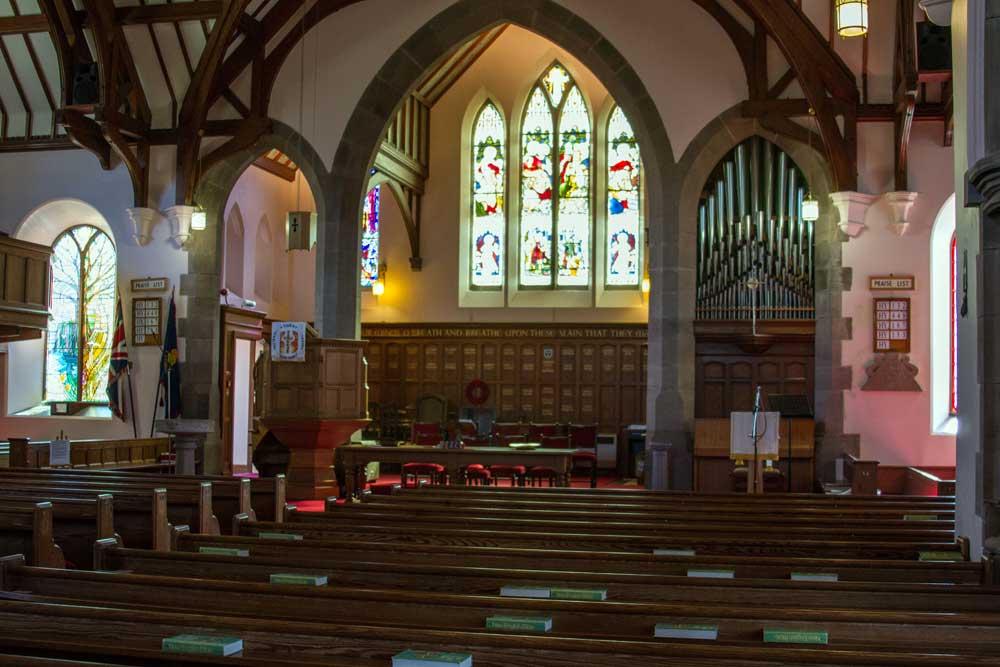 Interior view of Dunnottar Church taken September 2018.
