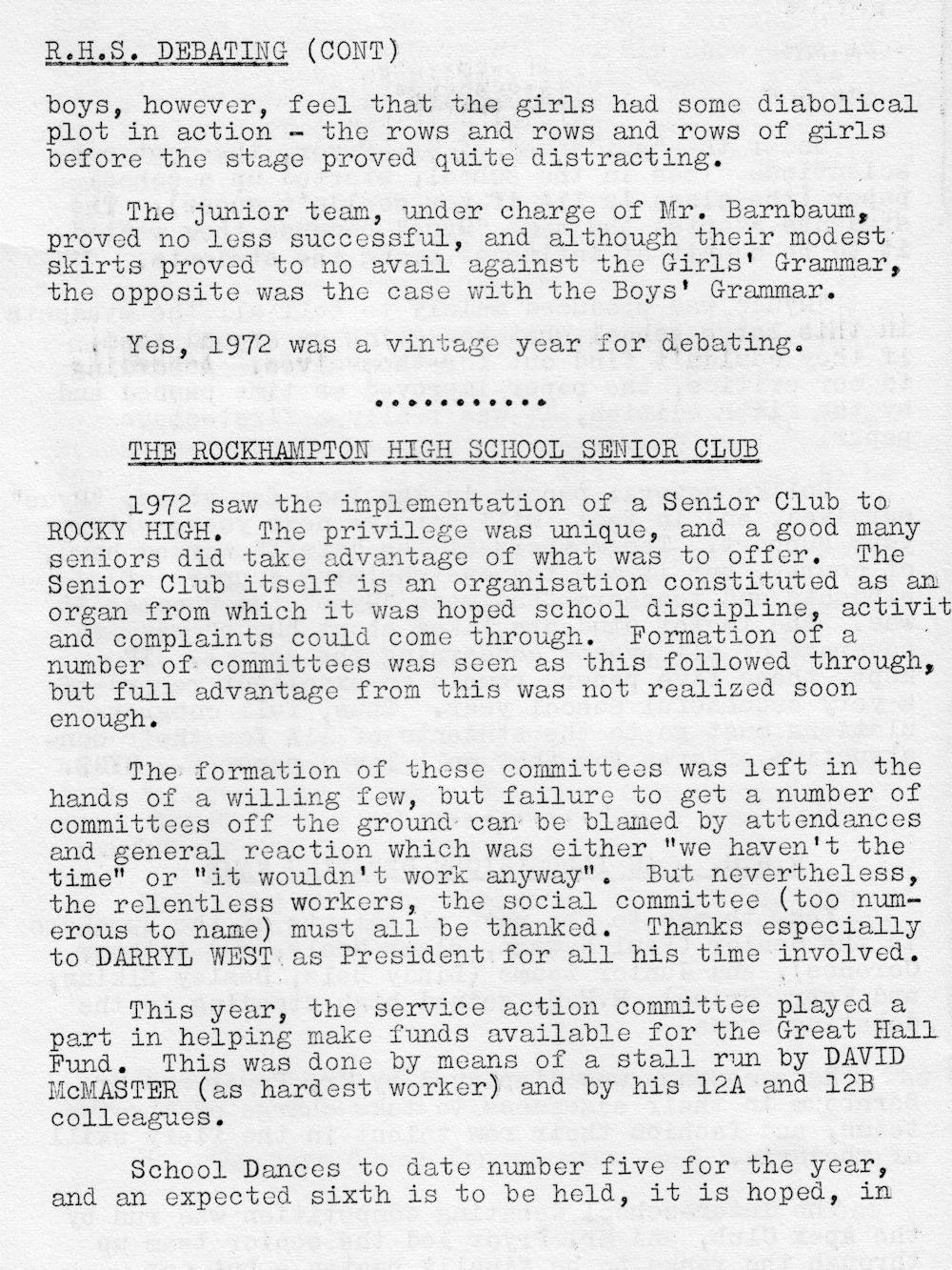 1972 Rockhampton State High School Magazine p22
