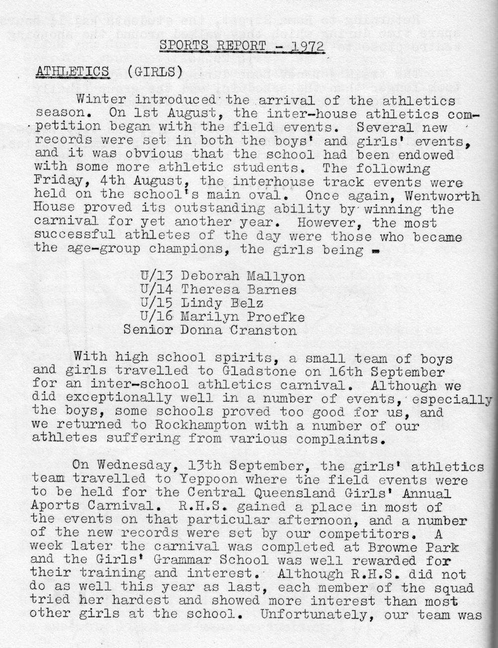 1972 Rockhampton State High School Magazine p30