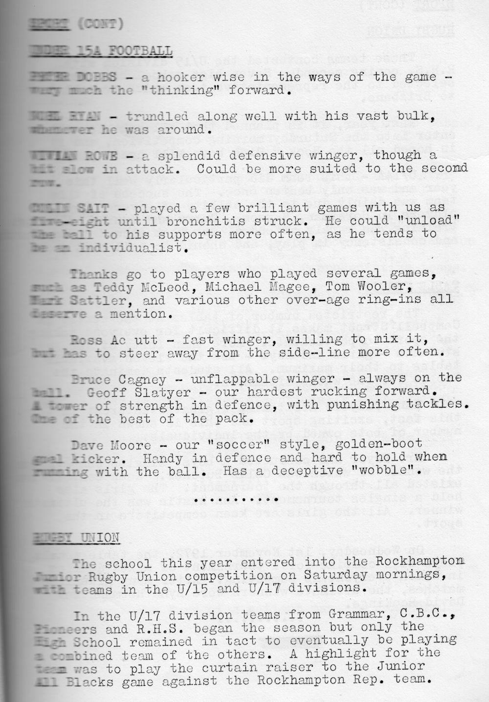 1972 Rockhampton State High School Magazine p37