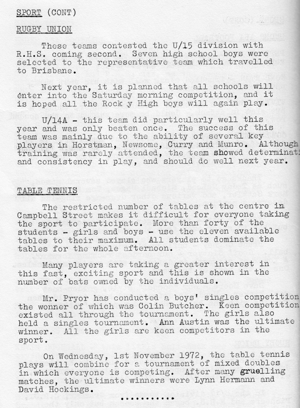 1972 Rockhampton State High School Magazine p38