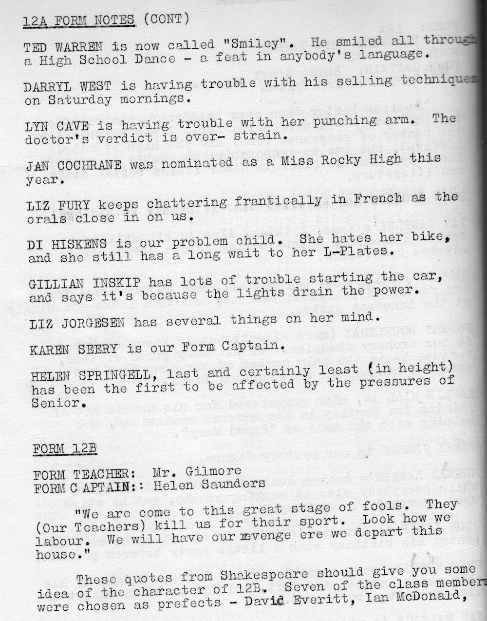 1972 Rockhampton State High School Magazine p42