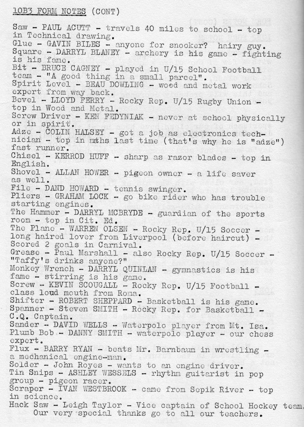 1972 Rockhampton State High School Magazine p58