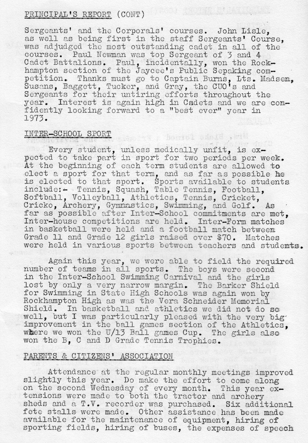 1972 Rockhampton State High School Magazine p6