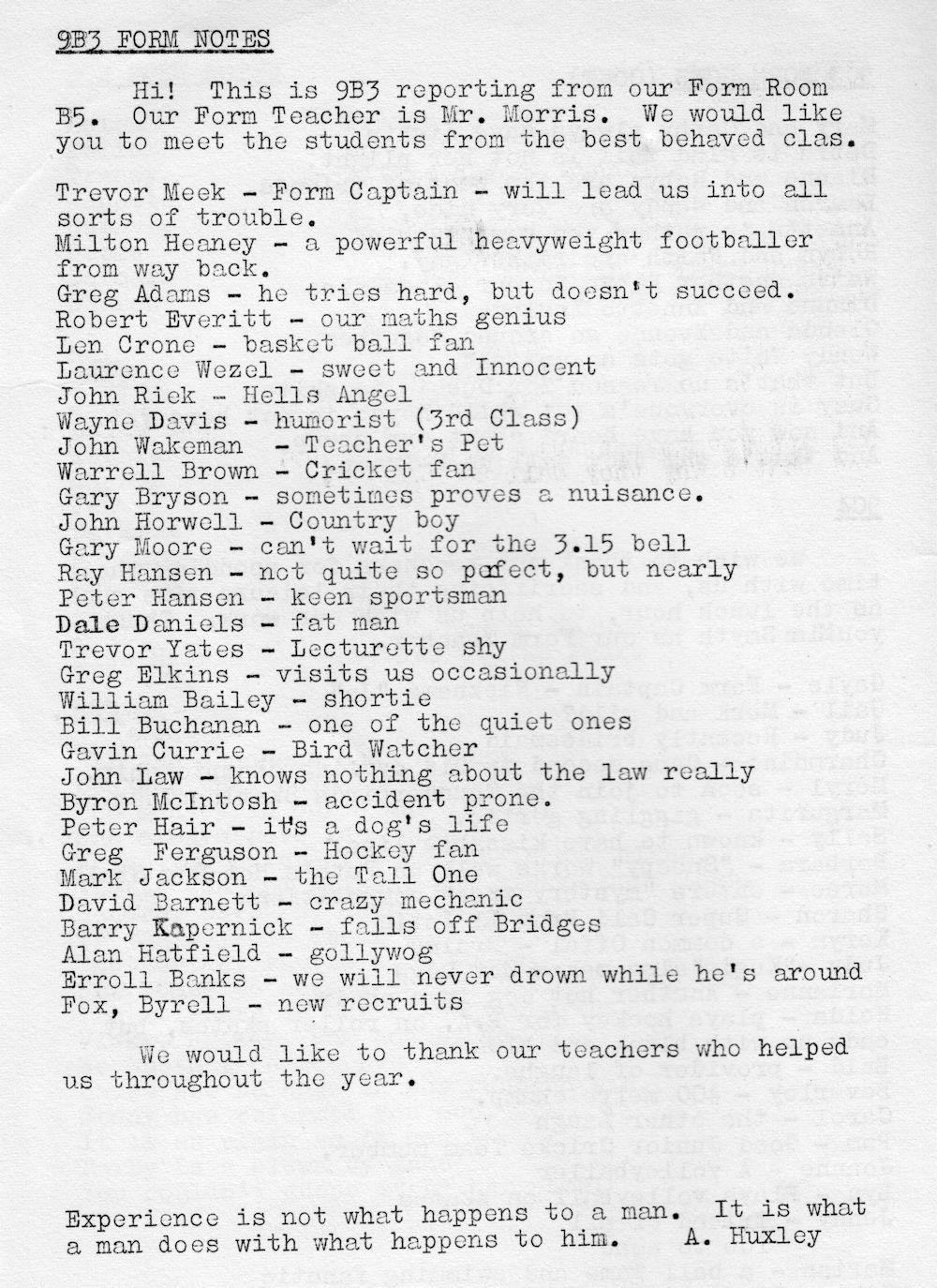 1972 Rockhampton State High School Magazine p66