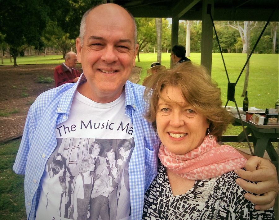 Warren Nunn, enrolled 1967, Jill Atherton, enrolled 1968. We had the roles of Harold Hill and Marian Paroo in the school's 1972 musical production The Music Man. Note my T-shirt has image from some of the cast members. Look closely and you'll see Jill in the white dress at left and me at far right.... and with hair!