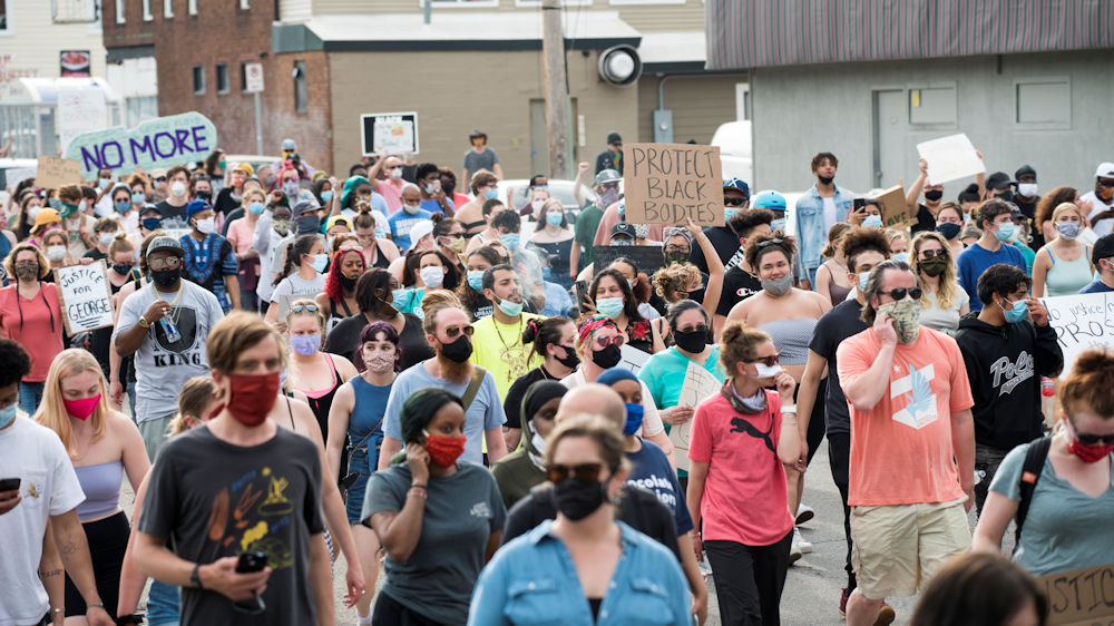 Protesters march for George Floyd