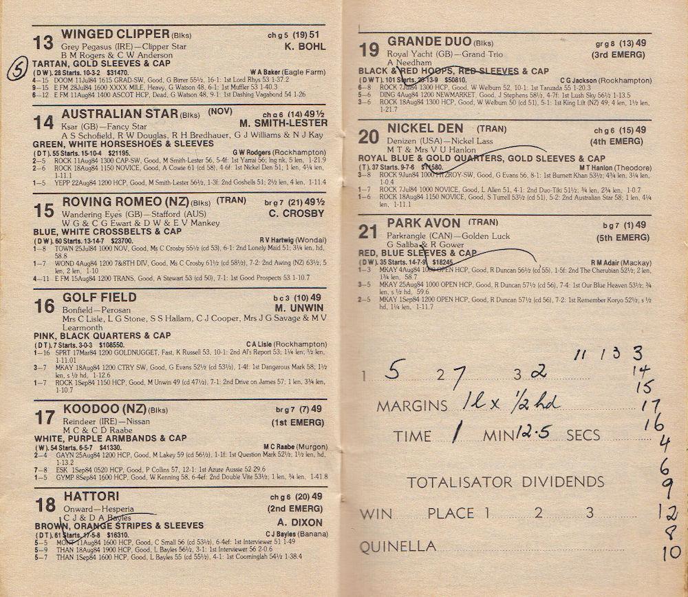 Racebook 15 Sep 1983 Golf Field.